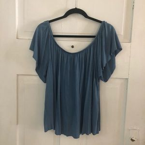 Nordstrom bp Flowy Blue Short Sleeve Top